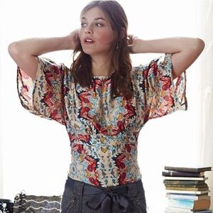 KAS New York Winterstar Printed Silk Kimono Blouse